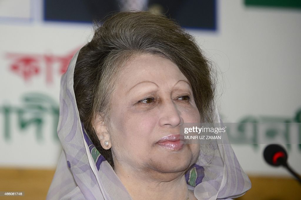 Opposition Bangladesh Nationalist Party (BNP) leader <a gi-track='captionPersonalityLinkClicked' href=/galleries/search?phrase=Khaleda+Zia&family=editorial&specificpeople=647544 ng-click='$event.stopPropagation()'>Khaleda Zia</a> looks on during a press conference in Dhaka on March 13, 2015. Bangladesh's opposition leader <a gi-track='captionPersonalityLinkClicked' href=/galleries/search?phrase=Khaleda+Zia&family=editorial&specificpeople=647544 ng-click='$event.stopPropagation()'>Khaleda Zia</a> vowed March 13 to push on with her campaign to topple the government as she struck a defiant note in her first public appearance since being effectively confined to her office. AFP PHOTO / Munir uz ZAMAN