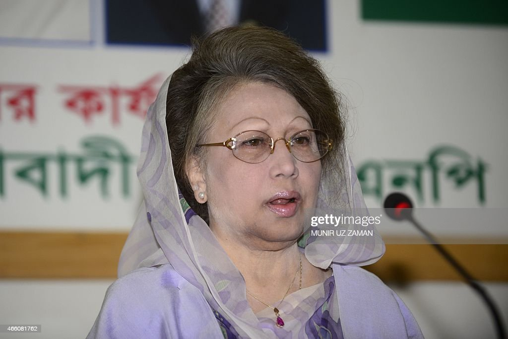 Opposition Bangladesh Nationalist Party (BNP) leader <a gi-track='captionPersonalityLinkClicked' href=/galleries/search?phrase=Khaleda+Zia&family=editorial&specificpeople=647544 ng-click='$event.stopPropagation()'>Khaleda Zia</a> speaks during a press conference in Dhaka on March 13, 2015. Bangladesh's opposition leader <a gi-track='captionPersonalityLinkClicked' href=/galleries/search?phrase=Khaleda+Zia&family=editorial&specificpeople=647544 ng-click='$event.stopPropagation()'>Khaleda Zia</a> vowed March 13 to push on with her campaign to topple the government as she struck a defiant note in her first public appearance since being effectively confined to her office. AFP PHOTO / Munir uz ZAMAN