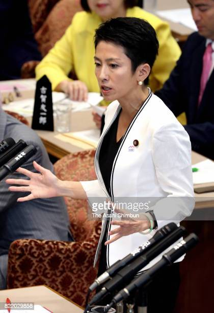 Opposition Democratic Party leader Renho questions to Prime Minister Shinzo Abe during the Upper House Budget Committee on July 25 2017 in Tokyo...