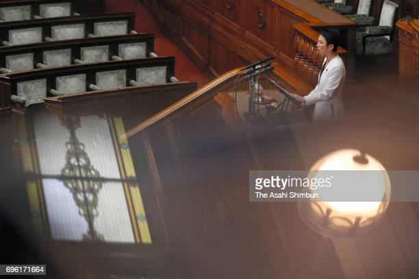 Opposition Democratic Party of Japan leader Renho addresses ahead of anticonspiracy legislation voting at an Upper House plenary session at the Diet...
