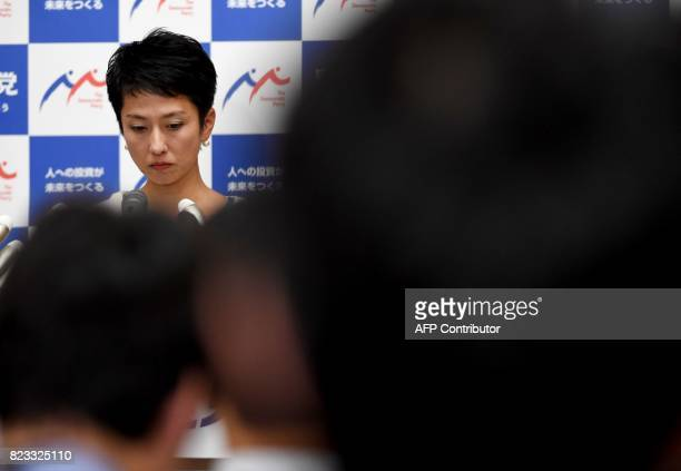 Opposition Democratic Party of Japan leader Renho listens to a question during a press conference at the parliament in Tokyo on July 27 2017 Renho...
