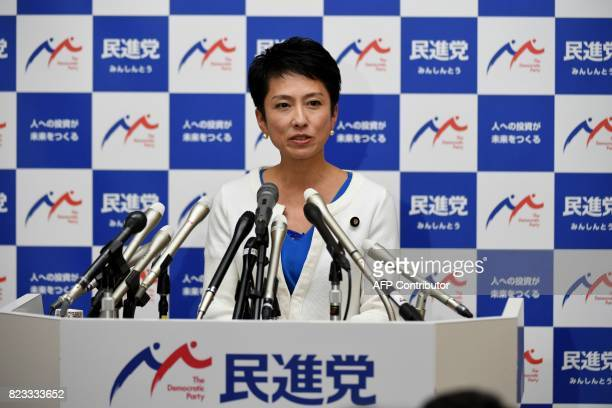 Opposition Democratic Party of Japan leader Renho speaks during a press conference at the parliament in Tokyo on July 27 2017 Renho who goes by only...
