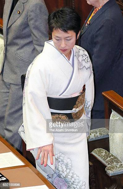 Opposition Democratic Party President Renho wearing kimono attends an Upper House plenary session as the 194rd ordinary session of the diet convenes...