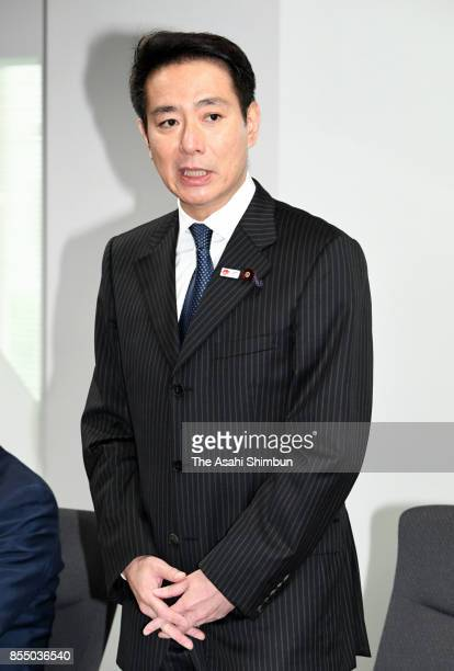 Opposition Democratic Party President Seiji Maehara addresses during the party's executive meeting at the party headquarters after the Lower House...