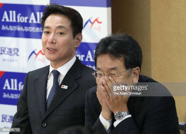 Opposition Democratic Party President Seiji Maehara and Deputy President Yukio Edano attend the party's lawmakers meeting at the party headquarters...