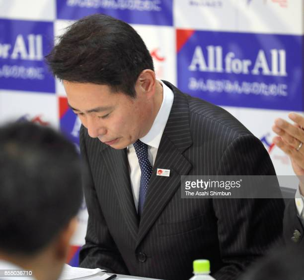 Opposition Democratic Party President Seiji Maehara attends the party's lawmakers meeting at the party headquarters after the Lower House was...