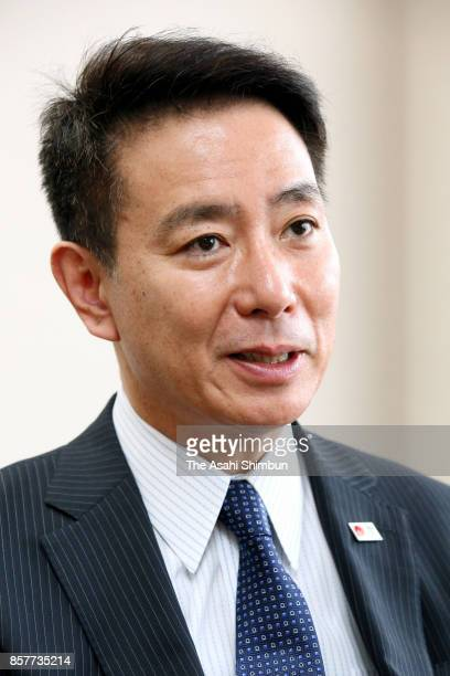 Opposition Democratic Party President Seiji Maehara speaks during the Asahi Shimbun interview at the party headquarters on October 4 2017 in Tokyo...