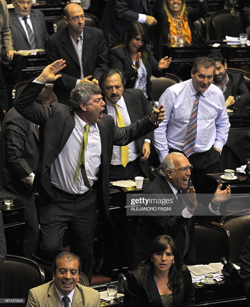 Opposition deputies argue with their pro-government colleagues during the discussion of a controversial judicial reform proposed by Argentina's President Cristina Fernandez de Kirchner, in Buenos Aires, on April 25, 2013.