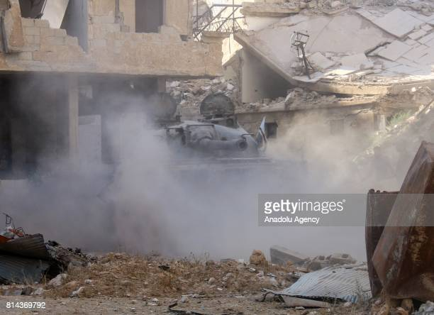 Opposition forces clash with Assad Regime forces after they hit a deconflict zone of opposition controlled Jobar neighborhood in Damascus Syria on...