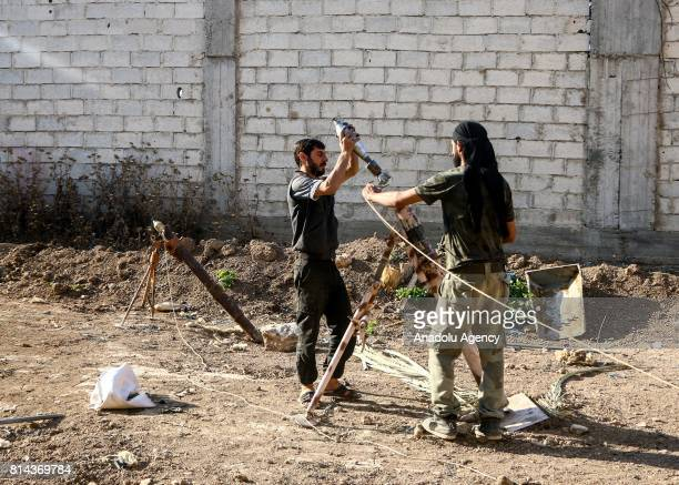 Opposition forces prepare to attack during a clash after Assad Regime's forces hit a deconflict zone of opposition controlled Jobar neighborhood in...