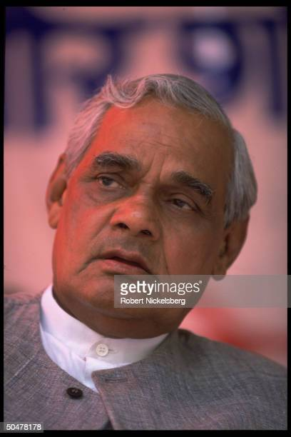 Opposition Hindu nationalist BJP party ldr AB Vajpayee at Bharatiya Janata campaign rally before gen elections possible PM cand w BJP victory