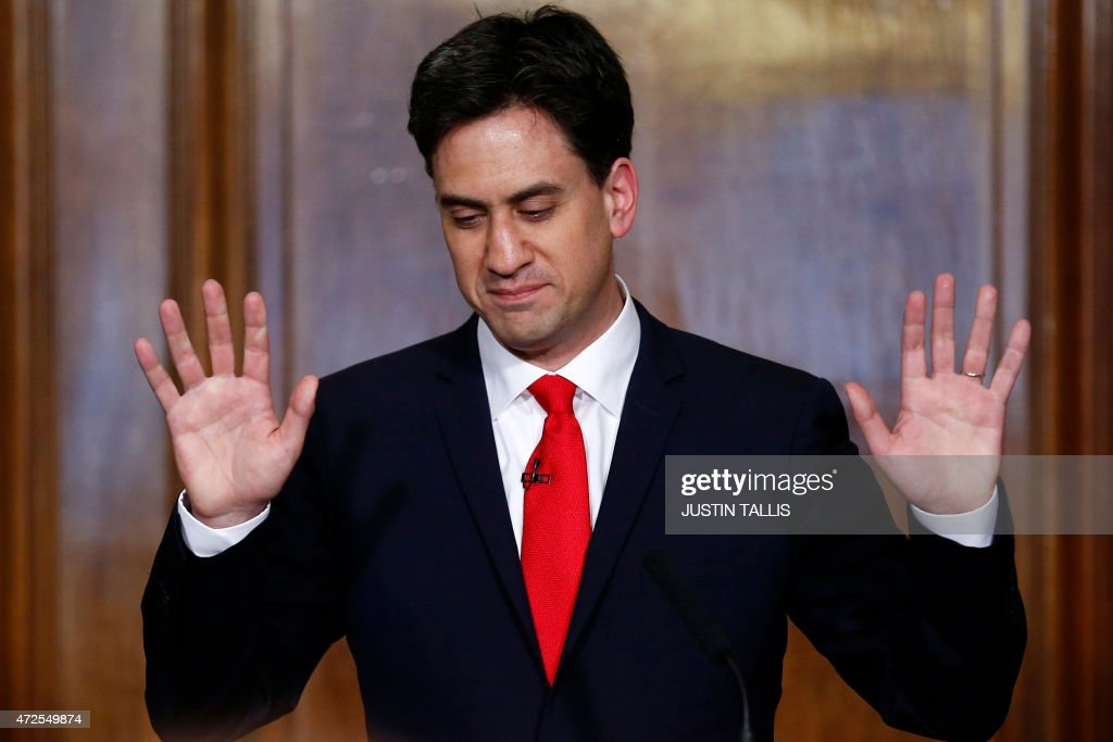 Opposition Labour Party leader Ed Miliband speaks during a press conference in central London on May 8 2015 a day after the British general election...