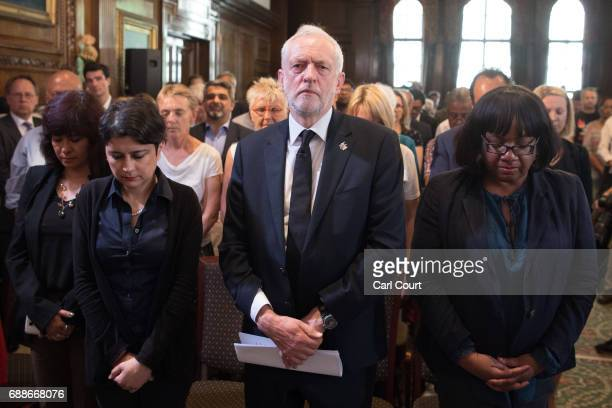 Opposition Labour Party leader Jeremy Corbyn his wife Laura Alvarez Shadow Attorney General for England and Wales Shami Chakrabarti and Shadow Home...