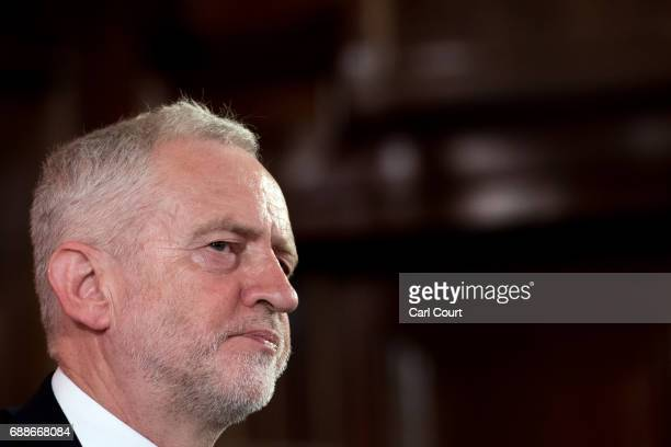 Opposition Labour Party leader Jeremy Corbyn makes a speech on defence on May 26 2017 in London England Mr Corbyn stated that UK foreign policy would...