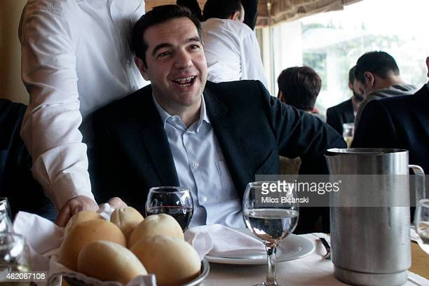 Opposition leader and head of radical leftist Syriza party Alexis Tsipras during a meeting with journalists on January 24 2015 in Athens Greece...