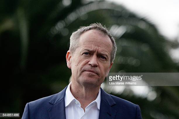 Opposition Leader Australian Labor Party Bill Shorten addresses the media during a visit to Maribyrmong on July 3 2016 in Melbourne Australia The...