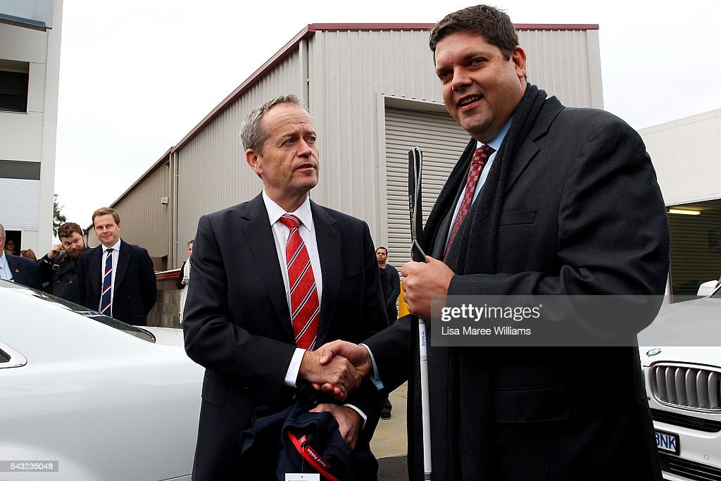 Opposition Leader, Australian Labor Party <a gi-track='captionPersonalityLinkClicked' href=/galleries/search?phrase=Bill+Shorten&family=editorial&specificpeople=606712 ng-click='$event.stopPropagation()'>Bill Shorten</a> and candidate for Deakin Tony Clark visit with students at Swinburne TAFE on June 27, 2016 in Melbourne, Australia. The latest Newspoll shows the Coalition has pulled ahead of the Labor Party, less than a week out from the July 2 election. On a two-party preferred basis, the Coalition now leads Labor 51-49, breaking the deadlock from the last poll.