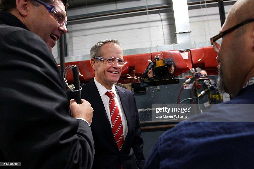 Opposition Leader, Australian Labor Party <a gi-track='captionPersonalityLinkClicked' href=/galleries/search?phrase=Bill+Shorten&family=editorial&specificpeople=606712 ng-click='$event.stopPropagation()'>Bill Shorten</a> and candidate for Deakin Tony Clark visit with students at Swinburne TAFE in Croydon on June 27, 2016 in Melbourne, Australia. The latest Newspoll shows the Coalition has pulled ahead of the Labor Party, less than a week out from the July 2 election. On a two-party preferred basis, the Coalition now leads Labor 51-49, breaking the deadlock from the last poll.