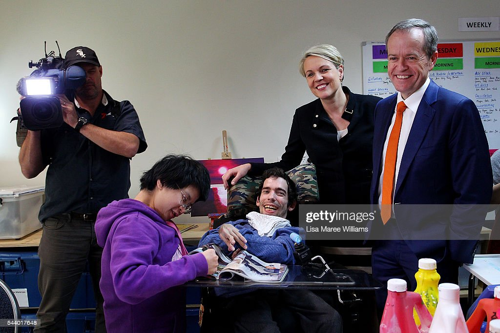 Opposition Leader, Australian Labor Party <a gi-track='captionPersonalityLinkClicked' href=/galleries/search?phrase=Bill+Shorten&family=editorial&specificpeople=606712 ng-click='$event.stopPropagation()'>Bill Shorten</a> (L) and Deputy Leader of the Opposition Tanya Plibersek visits Northcott a disability support centre in Parramatta on July 1, 2016 in Sydney, Australia.<a gi-track='captionPersonalityLinkClicked' href=/galleries/search?phrase=Bill+Shorten&family=editorial&specificpeople=606712 ng-click='$event.stopPropagation()'>Bill Shorten</a> is campaigning heavily on Medicare, promising to make sure it isn't privatised if the Labor Party wins the Federal Election on July 2.