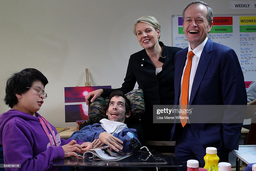 Opposition Leader, Australian Labor Party <a gi-track='captionPersonalityLinkClicked' href=/galleries/search?phrase=Bill+Shorten&family=editorial&specificpeople=606712 ng-click='$event.stopPropagation()'>Bill Shorten</a> (L) and Deputy Leader of the Opposition Tanya Plibersek visits Northcott, a disability support centre in Parramatta on July 1, 2016 in Sydney, Australia.<a gi-track='captionPersonalityLinkClicked' href=/galleries/search?phrase=Bill+Shorten&family=editorial&specificpeople=606712 ng-click='$event.stopPropagation()'>Bill Shorten</a> is campaigning heavily on Medicare, promising to make sure it isn't privatised if the Labor Party wins the Federal Election on July 2.