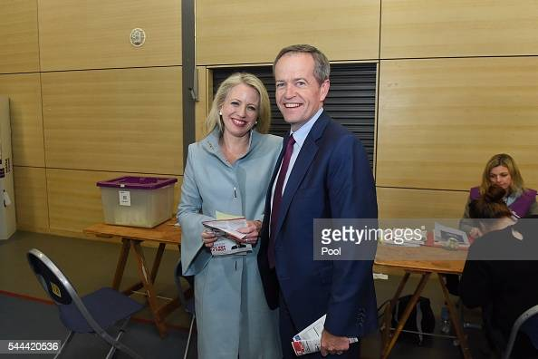 Opposition Leader Australian Labor Party Bill Shorten and his wife Chloe Shorten vote at Moonee Ponds West Public School polling booth on July 2 2016...