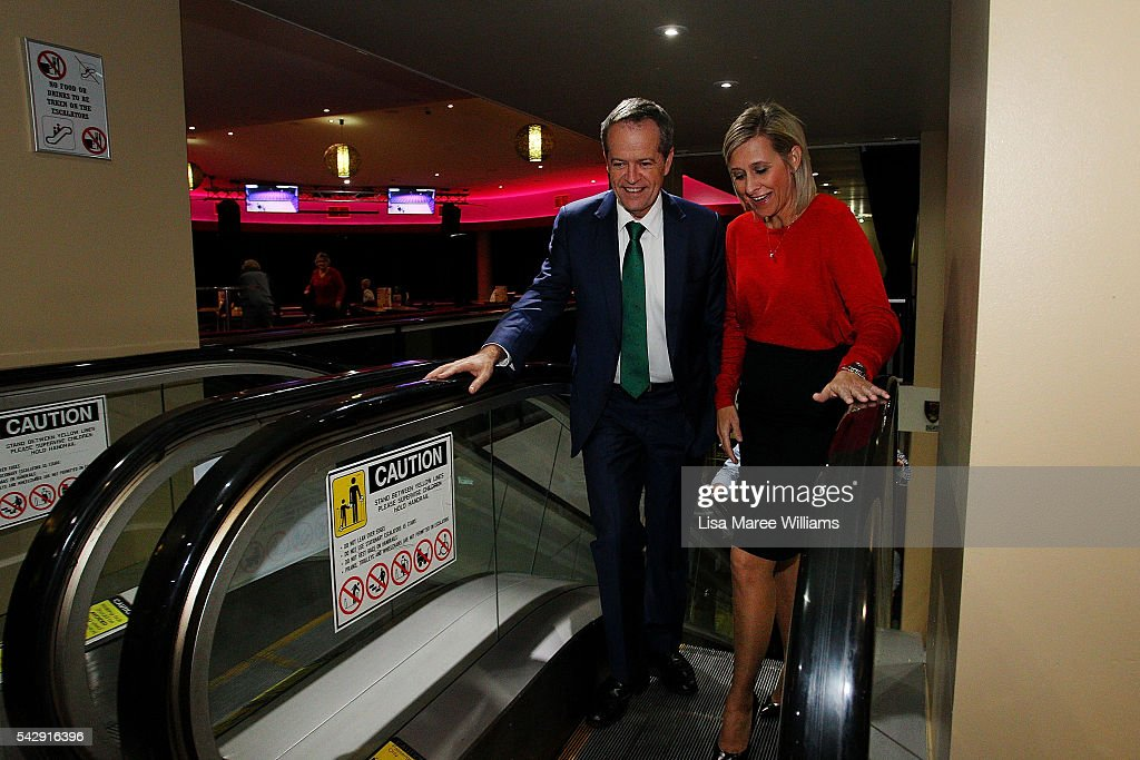 Opposition Leader, Australian Labor Party Bill Shorten and Susan Lamb visit the Caboolture RSL on June 25, 2016 in Caboolture, Australia. Bill Shorten launched his positive policies for Queensland including a overhaul of the visa system and continues to campaign heavily on Medicare, promising to make sure it isn't privatised if the Labor Party wins the Federal Election on July 2.