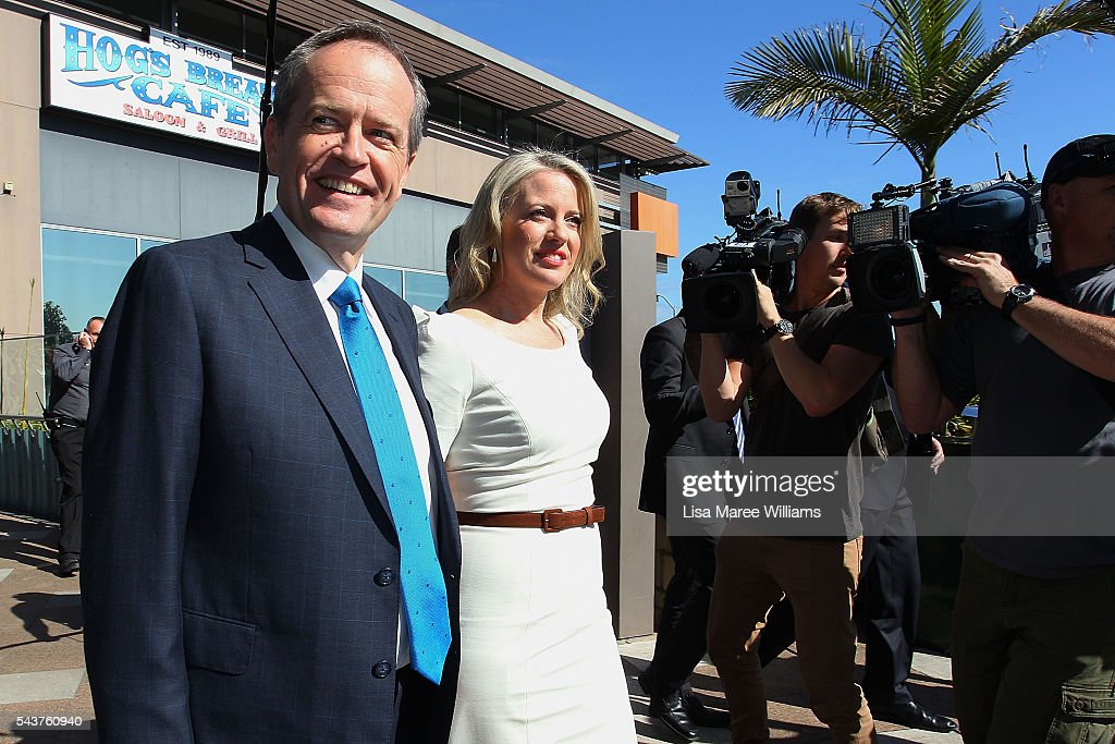 Opposition Leader, Australian Labor Party Bill Shorten and wife Chloe Shorten greet locals during a visit to the Hyperdome shopping centre on June 30, 2016 in Logan, Australia. Bill Shorten is campaigning heavily on Medicare, promising to make sure it isn't privatised if the Labor Party wins the Federal Election on July 2.