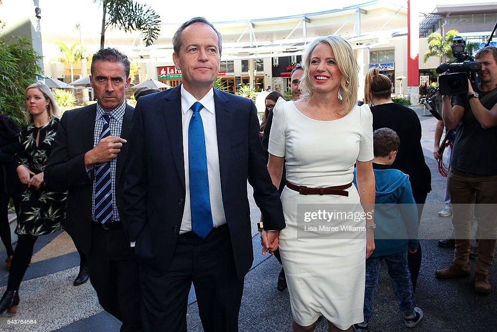 Opposition Leader, Australian Labor Party <a gi-track='captionPersonalityLinkClicked' href=/galleries/search?phrase=Bill+Shorten&family=editorial&specificpeople=606712 ng-click='$event.stopPropagation()'>Bill Shorten</a> and wife Chloe Shorten visit to the Hyperdome shopping centre on June 30, 2016 in Logan, Australia. <a gi-track='captionPersonalityLinkClicked' href=/galleries/search?phrase=Bill+Shorten&family=editorial&specificpeople=606712 ng-click='$event.stopPropagation()'>Bill Shorten</a> is campaigning heavily on Medicare, promising to make sure it isn't privatised if the Labor Party wins the Federal Election on July 2.