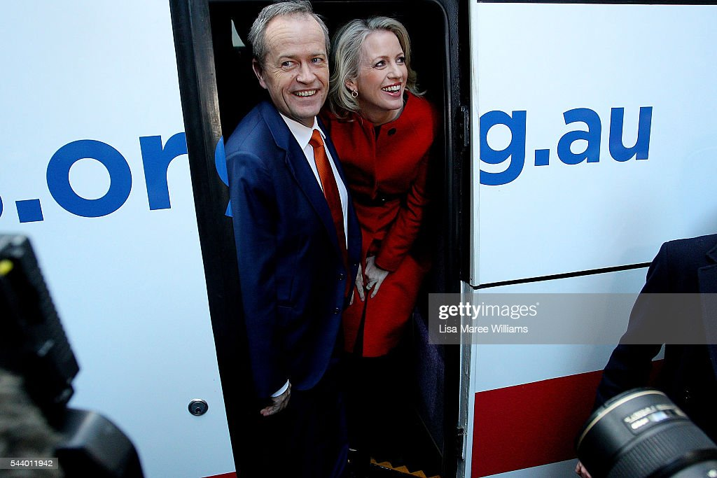 Opposition Leader, Australian Labor Party <a gi-track='captionPersonalityLinkClicked' href=/galleries/search?phrase=Bill+Shorten&family=editorial&specificpeople=606712 ng-click='$event.stopPropagation()'>Bill Shorten</a> and wife Chloe Shorten board the campaign bus following a Medicare Rally at Martin Place on July 1, 2016 in Sydney, Australia.<a gi-track='captionPersonalityLinkClicked' href=/galleries/search?phrase=Bill+Shorten&family=editorial&specificpeople=606712 ng-click='$event.stopPropagation()'>Bill Shorten</a> is campaigning heavily on Medicare, promising to make sure it isn't privatised if the Labor Party wins the Federal Election on July 2.