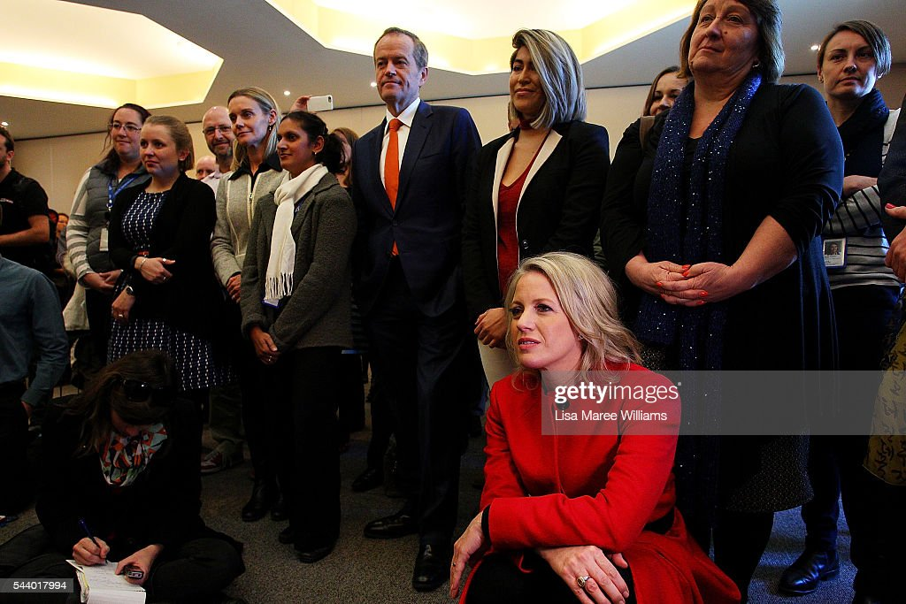Opposition Leader, Australian Labor Party <a gi-track='captionPersonalityLinkClicked' href=/galleries/search?phrase=Bill+Shorten&family=editorial&specificpeople=606712 ng-click='$event.stopPropagation()'>Bill Shorten</a> (C) and wife Chloe Shorten visit Northcott, a disability support centre in Parramatta on July 1, 2016 in Sydney, Australia.<a gi-track='captionPersonalityLinkClicked' href=/galleries/search?phrase=Bill+Shorten&family=editorial&specificpeople=606712 ng-click='$event.stopPropagation()'>Bill Shorten</a> is campaigning heavily on Medicare, promising to make sure it isn't privatised if the Labor Party wins the Federal Election on July 2.