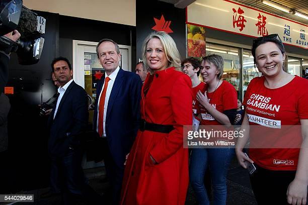 Opposition Leader Australian Labor Party Bill Shorten and wife Chloe Shorten meet locals during a street walk in Hurstville on July 1 2016 in Sydney...