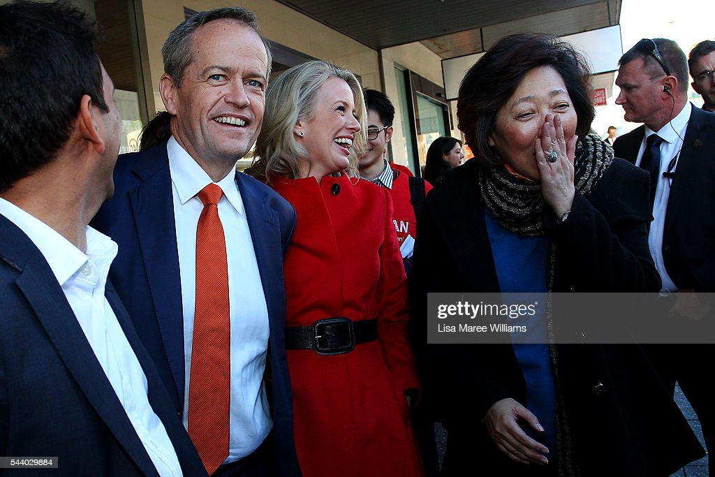 Opposition Leader, Australian Labor Party <a gi-track='captionPersonalityLinkClicked' href=/galleries/search?phrase=Bill+Shorten&family=editorial&specificpeople=606712 ng-click='$event.stopPropagation()'>Bill Shorten</a> and wife Chloe Shorten meet locals during a street walk in Hurstville on July 1, 2016 in Sydney, Australia. <a gi-track='captionPersonalityLinkClicked' href=/galleries/search?phrase=Bill+Shorten&family=editorial&specificpeople=606712 ng-click='$event.stopPropagation()'>Bill Shorten</a> is campaigning heavily on Medicare, promising to make sure it isn't privatised if the Labor Party wins the Federal Election on July 2.