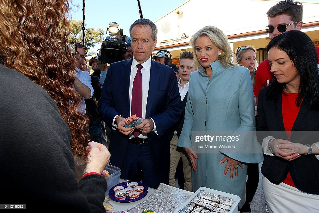 Opposition Leader, Australian Labor Party Bill Shorten and wife Chloe Shorten speaks visit to a polling booth at Colyton on July 2, 2016 in Sydney, Australia. After 8 official weeks of campaigning, Labor party leader, Bill Shorten will cast his vote and await results as Australians head to the polls to elect the 45th Parliament.