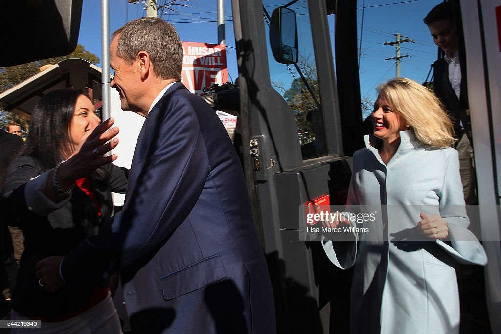 Opposition Leader, Australian Labor Party Bill Shorten and wife Chloe Shorten visit a polling booth at Colyton on July 2, 2016 in Sydney, Australia. After 8 official weeks of campaigning, Labor party leader, Bill Shorten will cast his vote and await results as Australians head to the polls to elect the 45th Parliament.