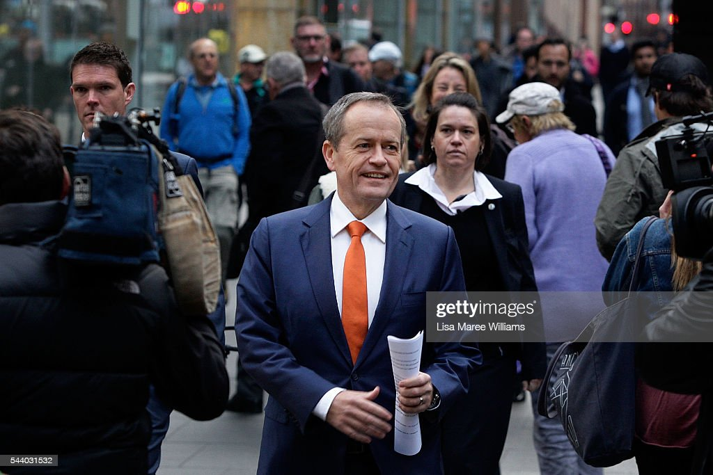 Opposition Leader, Australian Labor Party <a gi-track='captionPersonalityLinkClicked' href=/galleries/search?phrase=Bill+Shorten&family=editorial&specificpeople=606712 ng-click='$event.stopPropagation()'>Bill Shorten</a> arrives at a Medicare Rally at Martin Place on July 1, 2016 in Sydney, Australia.<a gi-track='captionPersonalityLinkClicked' href=/galleries/search?phrase=Bill+Shorten&family=editorial&specificpeople=606712 ng-click='$event.stopPropagation()'>Bill Shorten</a> is campaigning heavily on Medicare, promising to make sure it isn't privatised if the Labor Party wins the Federal Election on July 2.