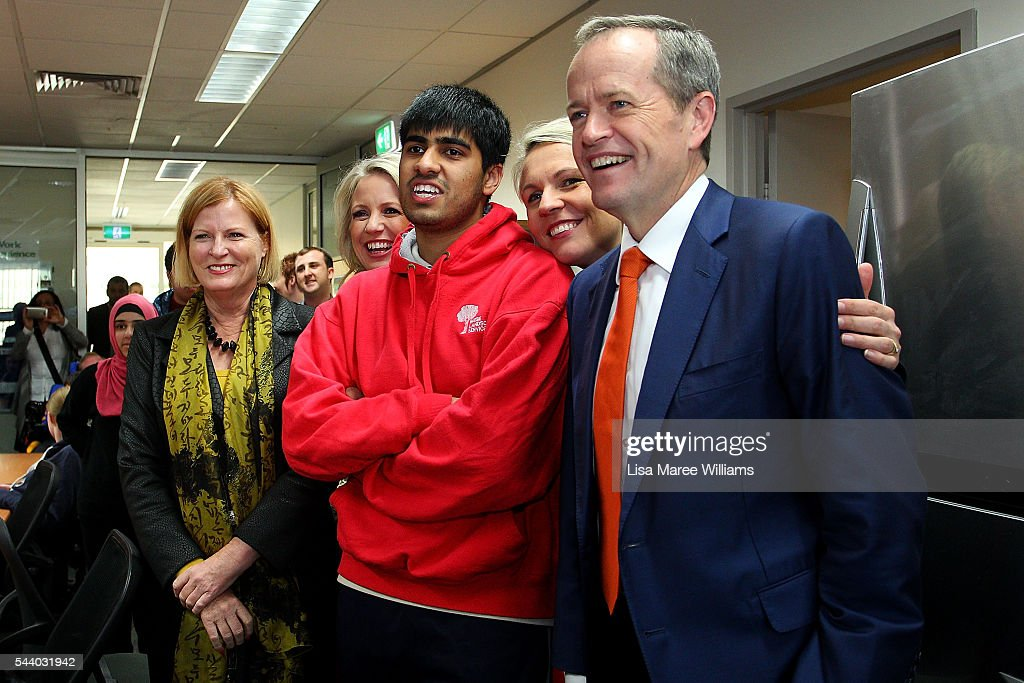 Opposition Leader, Australian Labor Party <a gi-track='captionPersonalityLinkClicked' href=/galleries/search?phrase=Bill+Shorten&family=editorial&specificpeople=606712 ng-click='$event.stopPropagation()'>Bill Shorten</a> (R), Deputy Leader of the Opposition Tanya Plibersek and Chloe Shorten visit Northcott disability support centre in Parramatta on July 1, 2016 in Sydney, Australia.<a gi-track='captionPersonalityLinkClicked' href=/galleries/search?phrase=Bill+Shorten&family=editorial&specificpeople=606712 ng-click='$event.stopPropagation()'>Bill Shorten</a> is campaigning heavily on Medicare, promising to make sure it isn't privatised if the Labor Party wins the Federal Election on July 2.