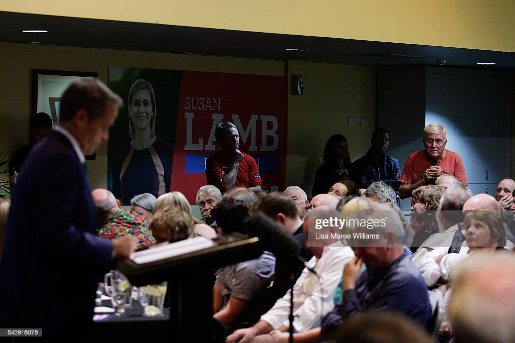 Opposition Leader, Australian Labor Party Bill Shorten fields questions from the public during a visit to the Caboolture RSL on June 25, 2016 in Caboolture, Australia. Bill Shorten launched his positive policies for Queensland including a overhaul of the visa system and continues to campaign heavily on Medicare, promising to make sure it isn't privatised if the Labor Party wins the Federal Election on July 2.