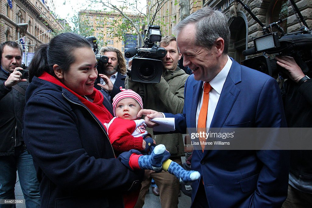 Opposition Leader, Australian Labor Party <a gi-track='captionPersonalityLinkClicked' href=/galleries/search?phrase=Bill+Shorten&family=editorial&specificpeople=606712 ng-click='$event.stopPropagation()'>Bill Shorten</a> greets a supporter during a Medicare Rally at Martin Place on July 1, 2016 in Sydney, Australia.<a gi-track='captionPersonalityLinkClicked' href=/galleries/search?phrase=Bill+Shorten&family=editorial&specificpeople=606712 ng-click='$event.stopPropagation()'>Bill Shorten</a> is campaigning heavily on Medicare, promising to make sure it isn't privatised if the Labor Party wins the Federal Election on July 2.