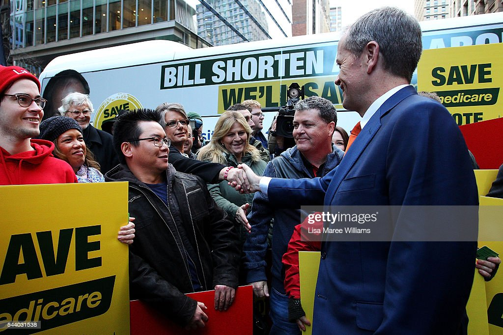 Opposition Leader, Australian Labor Party <a gi-track='captionPersonalityLinkClicked' href=/galleries/search?phrase=Bill+Shorten&family=editorial&specificpeople=606712 ng-click='$event.stopPropagation()'>Bill Shorten</a> greets supporters during a Medicare Rally at Martin Place on July 1, 2016 in Sydney, Australia.<a gi-track='captionPersonalityLinkClicked' href=/galleries/search?phrase=Bill+Shorten&family=editorial&specificpeople=606712 ng-click='$event.stopPropagation()'>Bill Shorten</a> is campaigning heavily on Medicare, promising to make sure it isn't privatised if the Labor Party wins the Federal Election on July 2.