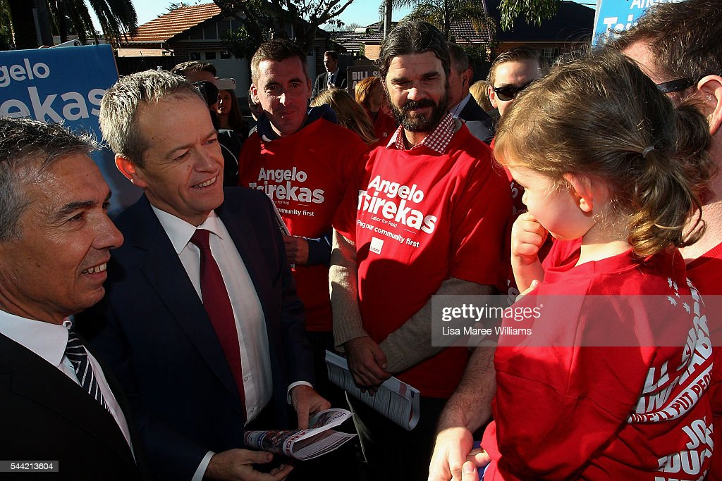 Opposition Leader, Australian Labor Party Bill Shorten greets voters during a visit to a polling booth at Strathfield North Public School on July 2, 2016 in Sydney, Australia. After 8 official weeks of campaigning, Labor party leader, Bill Shorten will cast his vote and await results as Australians head to the polls to elect the 45th Parliament.