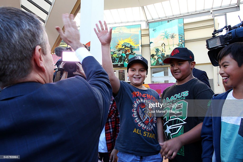 Opposition Leader, Australian Labor Party <a gi-track='captionPersonalityLinkClicked' href=/galleries/search?phrase=Bill+Shorten&family=editorial&specificpeople=606712 ng-click='$event.stopPropagation()'>Bill Shorten</a> greets young locals during a visit to the Hyperdome shopping centre on June 30, 2016 in Logan, Australia. <a gi-track='captionPersonalityLinkClicked' href=/galleries/search?phrase=Bill+Shorten&family=editorial&specificpeople=606712 ng-click='$event.stopPropagation()'>Bill Shorten</a> is campaigning heavily on Medicare, promising to make sure it isn't privatised if the Labor Party wins the Federal Election on July 2.
