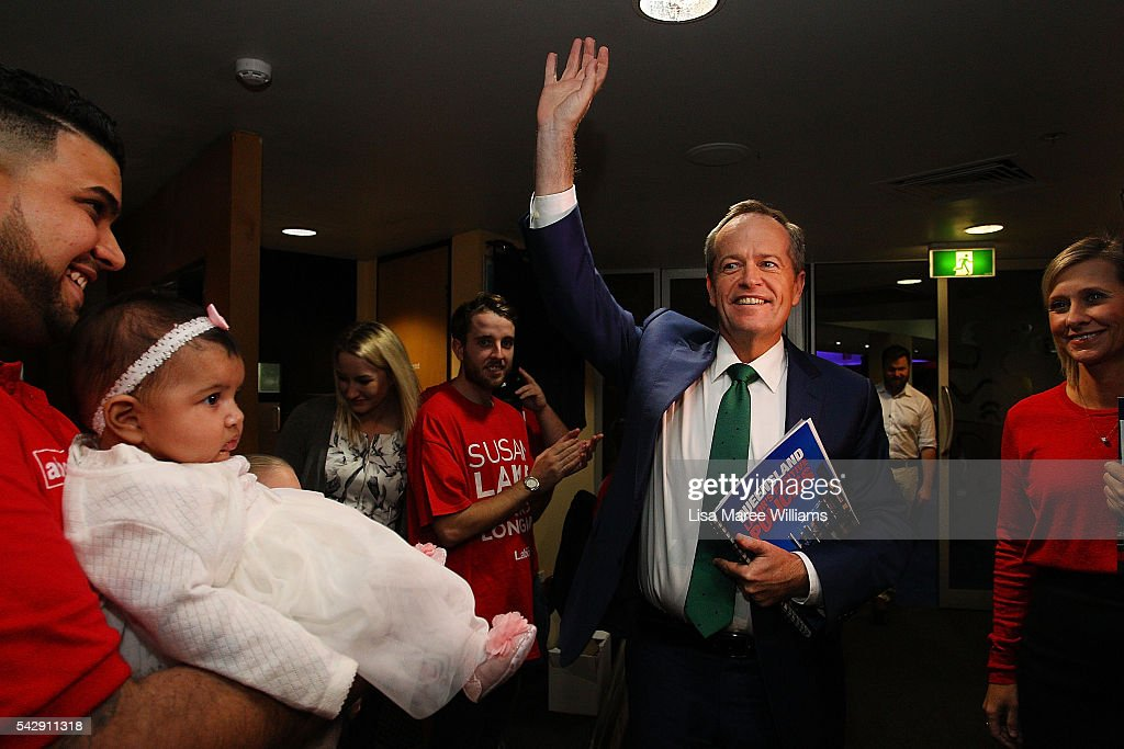 Opposition Leader, Australian Labor Party <a gi-track='captionPersonalityLinkClicked' href=/galleries/search?phrase=Bill+Shorten&family=editorial&specificpeople=606712 ng-click='$event.stopPropagation()'>Bill Shorten</a> meets the public during a vist to the Caboolture RSL on June 25, 2016 in Townsville, Australia. <a gi-track='captionPersonalityLinkClicked' href=/galleries/search?phrase=Bill+Shorten&family=editorial&specificpeople=606712 ng-click='$event.stopPropagation()'>Bill Shorten</a> launched his positive policies for Queensland including a overhaul of the visa system and continues to campaign heavily on Medicare, promising to make sure it isn't privatised if the Labor Party wins the Federal Election on July 2.