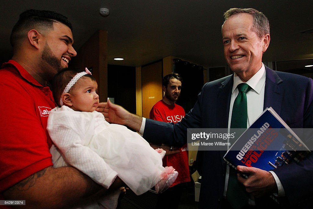 Opposition Leader, Australian Labor Party <a gi-track='captionPersonalityLinkClicked' href=/galleries/search?phrase=Bill+Shorten&family=editorial&specificpeople=606712 ng-click='$event.stopPropagation()'>Bill Shorten</a> meets the public during a visit to the Caboolture RSL on June 25, 2016 in Caboolture, Australia. <a gi-track='captionPersonalityLinkClicked' href=/galleries/search?phrase=Bill+Shorten&family=editorial&specificpeople=606712 ng-click='$event.stopPropagation()'>Bill Shorten</a> launched his positive policies for Queensland including a overhaul of the visa system and continues to campaign heavily on Medicare, promising to make sure it isn't privatised if the Labor Party wins the Federal Election on July 2.