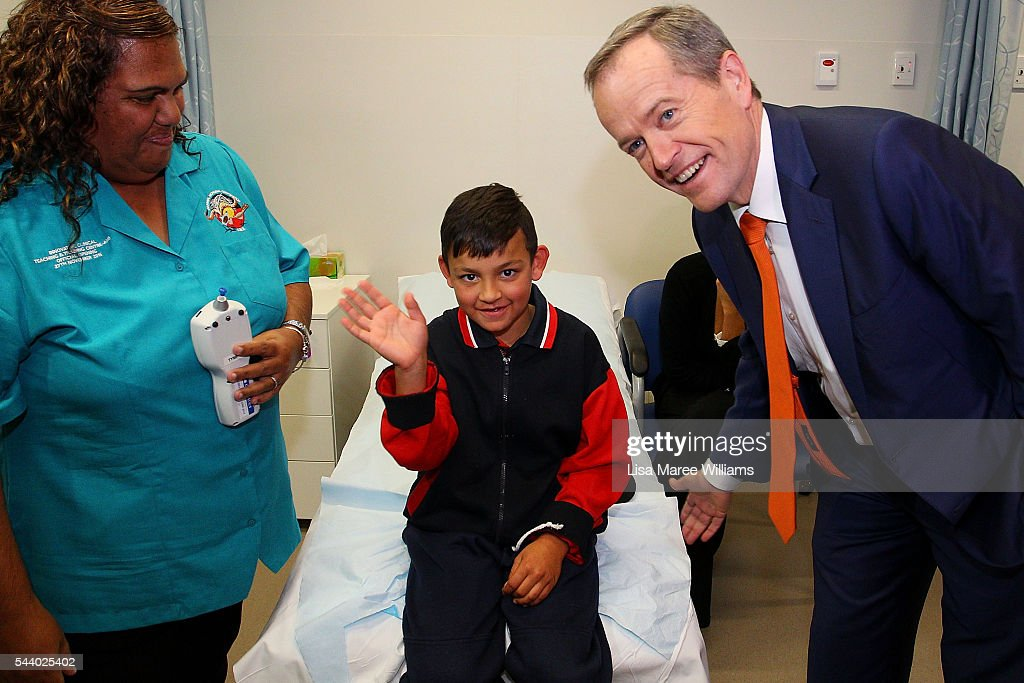 Opposition Leader, Australian Labor Party <a gi-track='captionPersonalityLinkClicked' href=/galleries/search?phrase=Bill+Shorten&family=editorial&specificpeople=606712 ng-click='$event.stopPropagation()'>Bill Shorten</a> meets Zayden Lett, 8, during a visit to the Tharawal Aboriginal Corporation Child and Family Centre in Campbeltown on July 1, 2016 in Sydney, Australia. <a gi-track='captionPersonalityLinkClicked' href=/galleries/search?phrase=Bill+Shorten&family=editorial&specificpeople=606712 ng-click='$event.stopPropagation()'>Bill Shorten</a> is campaigning heavily on Medicare, promising to make sure it isn't privatised if the Labor Party wins the Federal Election on July 2.