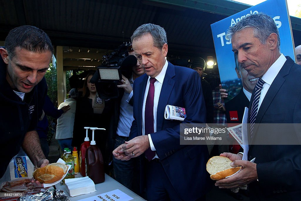 Opposition Leader, Australian Labor Party <a gi-track='captionPersonalityLinkClicked' href=/galleries/search?phrase=Bill+Shorten&family=editorial&specificpeople=606712 ng-click='$event.stopPropagation()'>Bill Shorten</a> orders a sausage bread roll during a visit to a polling booth at Strathfield North Public School on July 2, 2016 in Sydney, Australia. After 8 official weeks of campaigning, Labor party leader, <a gi-track='captionPersonalityLinkClicked' href=/galleries/search?phrase=Bill+Shorten&family=editorial&specificpeople=606712 ng-click='$event.stopPropagation()'>Bill Shorten</a> will cast his vote and await results as Australians head to the polls to elect the 45th Parliament.
