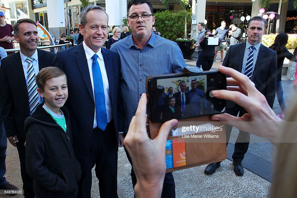 Opposition Leader, Australian Labor Party <a gi-track='captionPersonalityLinkClicked' href=/galleries/search?phrase=Bill+Shorten&family=editorial&specificpeople=606712 ng-click='$event.stopPropagation()'>Bill Shorten</a> (C) poses with locals during a visit to the Hyperdome shopping centre on June 30, 2016 in Logan, Australia. <a gi-track='captionPersonalityLinkClicked' href=/galleries/search?phrase=Bill+Shorten&family=editorial&specificpeople=606712 ng-click='$event.stopPropagation()'>Bill Shorten</a> is campaigning heavily on Medicare, promising to make sure it isn't privatised if the Labor Party wins the Federal Election on July 2.