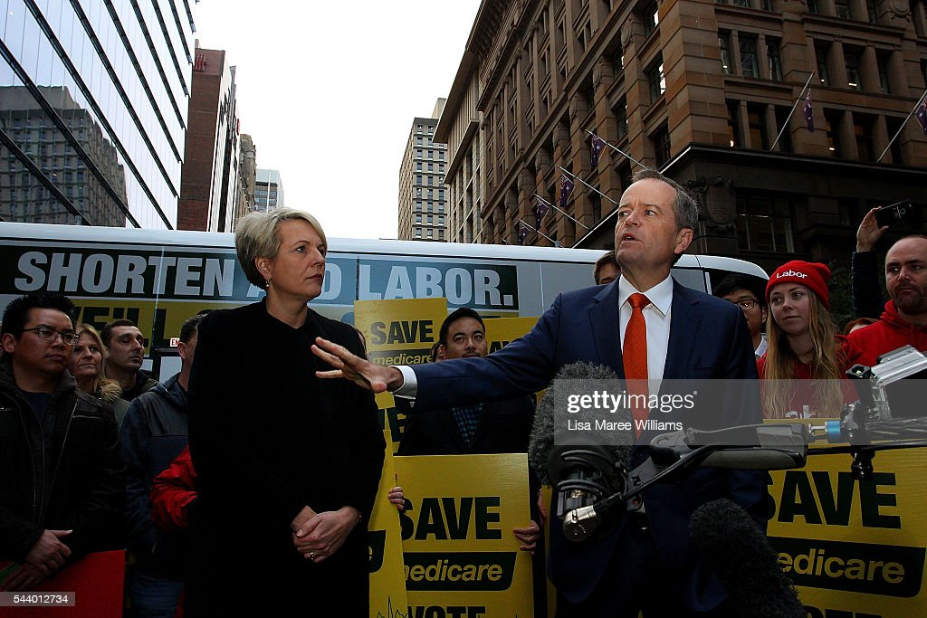 Opposition Leader, Australian Labor Party <a gi-track='captionPersonalityLinkClicked' href=/galleries/search?phrase=Bill+Shorten&family=editorial&specificpeople=606712 ng-click='$event.stopPropagation()'>Bill Shorten</a> speaks as Deputy Leader of the Opposition Tanya Plibersek looks on during a Medicare Rally at Martin Place on July 1, 2016 in Sydney, Australia.<a gi-track='captionPersonalityLinkClicked' href=/galleries/search?phrase=Bill+Shorten&family=editorial&specificpeople=606712 ng-click='$event.stopPropagation()'>Bill Shorten</a> is campaigning heavily on Medicare, promising to make sure it isn't privatised if the Labor Party wins the Federal Election on July 2.