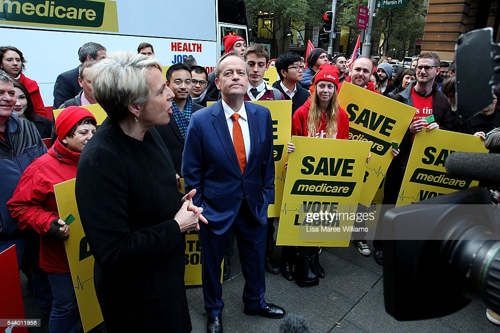 Opposition Leader, Australian Labor Party <a gi-track='captionPersonalityLinkClicked' href=/galleries/search?phrase=Bill+Shorten&family=editorial&specificpeople=606712 ng-click='$event.stopPropagation()'>Bill Shorten</a> speaks during a Medicare Rally at Martin Place on July 1, 2016 in Sydney, Australia.<a gi-track='captionPersonalityLinkClicked' href=/galleries/search?phrase=Bill+Shorten&family=editorial&specificpeople=606712 ng-click='$event.stopPropagation()'>Bill Shorten</a> is campaigning heavily on Medicare, promising to make sure it isn't privatised if the Labor Party wins the Federal Election on July 2.