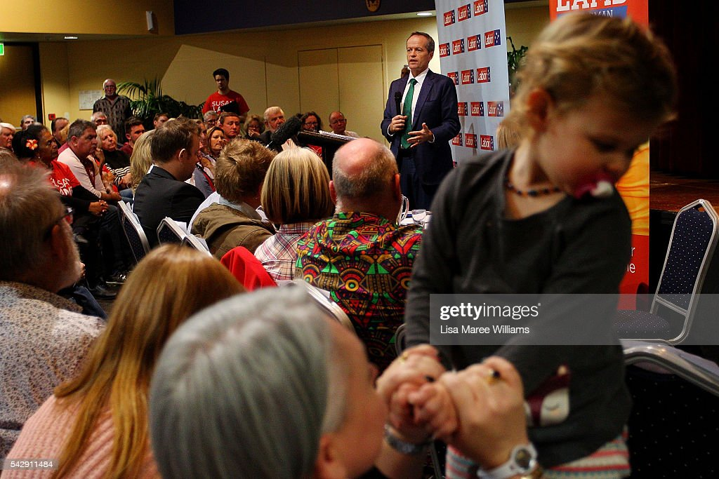 Opposition Leader, Australian Labor Party <a gi-track='captionPersonalityLinkClicked' href=/galleries/search?phrase=Bill+Shorten&family=editorial&specificpeople=606712 ng-click='$event.stopPropagation()'>Bill Shorten</a> speaks to the public during a vist to the Caboolture RSL on June 25, 2016 in Caboolture, Australia. <a gi-track='captionPersonalityLinkClicked' href=/galleries/search?phrase=Bill+Shorten&family=editorial&specificpeople=606712 ng-click='$event.stopPropagation()'>Bill Shorten</a> launched his positive policies for Queensland including a overhaul of the visa system and continues to campaign heavily on Medicare, promising to make sure it isn't privatised if the Labor Party wins the Federal Election on July 2.