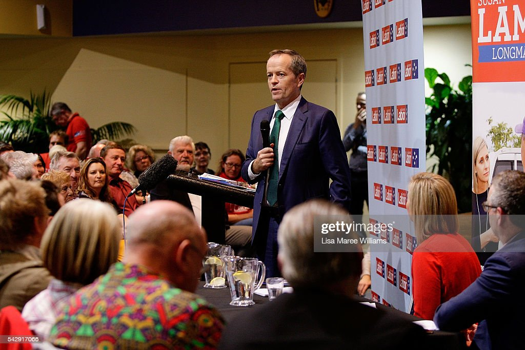 Opposition Leader, Australian Labor Party Bill Shorten speaks to the public during a visit to the Caboolture RSL on June 25, 2016 in Caboolture, Australia. Bill Shorten launched his positive policies for Queensland including a overhaul of the visa system and continues to campaign heavily on Medicare, promising to make sure it isn't privatised if the Labor Party wins the Federal Election on July 2.